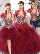 Traditional Floor Length Three Pieces Sleeveless Burgundy Vestidos de Quinceanera Lace Up