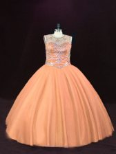Enchanting Floor Length Lace Up Quinceanera Gown Peach for Sweet 16 and Quinceanera with Beading