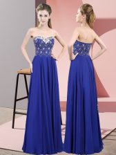 New Arrival Royal Blue Zipper Sweetheart Beading Prom Dress Chiffon Sleeveless