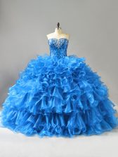 Blue Sweetheart Neckline Beading and Ruffles and Sequins Quinceanera Gowns Sleeveless Lace Up