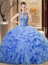 Floor Length Blue Sweet 16 Quinceanera Dress Organza Sleeveless Beading and Ruffles
