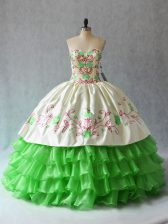 Quinceanera Dress Sweet 16 and Quinceanera with Embroidery and Ruffled Layers Sweetheart Sleeveless Lace Up