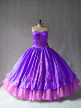 Satin and Organza Sleeveless Floor Length Sweet 16 Quinceanera Dress and Embroidery