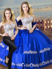 Sweetheart Sleeveless Satin and Organza Sweet 16 Dresses Beading and Embroidery Lace Up