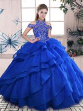 Spectacular High-neck Sleeveless Quinceanera Gowns Floor Length Beading and Ruffled Layers Royal Blue Organza