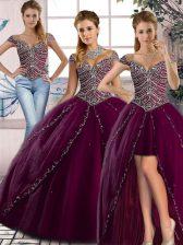 Customized Beading Quinceanera Dress Purple Lace Up Cap Sleeves Brush Train