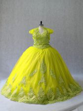 High Class Sleeveless Tulle Court Train Lace Up 15th Birthday Dress in Yellow Green with Appliques