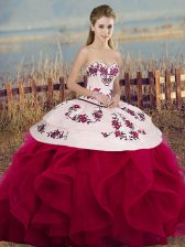 Affordable Sleeveless Tulle Floor Length Lace Up Sweet 16 Dress in White And Red with Embroidery and Ruffles and Bowknot