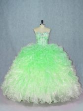 New Style Multi-color Sleeveless Floor Length Beading and Ruffles Lace Up Quinceanera Gowns
