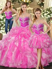 Fantastic Sleeveless Organza Floor Length Lace Up Vestidos de Quinceanera in Rose Pink with Beading and Ruffles