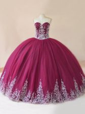 Beauteous Burgundy Ball Gowns Tulle Sweetheart Sleeveless Embroidery Floor Length Lace Up Ball Gown Prom Dress