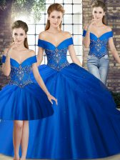 Unique Royal Blue Sleeveless Beading and Pick Ups Lace Up Sweet 16 Dresses