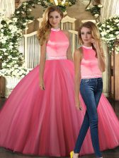 Beauteous Coral Red Sleeveless Floor Length Beading Backless Vestidos de Quinceanera