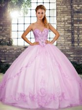 Inexpensive Lilac Sweetheart Neckline Beading and Embroidery 15 Quinceanera Dress Sleeveless Lace Up