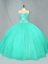Floor Length Turquoise Sweet 16 Dress Tulle Sleeveless Beading
