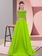 Sleeveless Elastic Woven Satin Sweep Train Backless Prom Dresses in Yellow Green with Beading