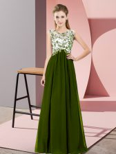 Vintage Chiffon Sleeveless Floor Length Dama Dress for Quinceanera and Beading and Appliques