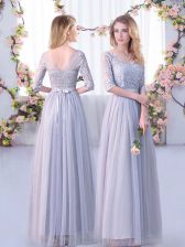 Free and Easy Empire Dama Dress Grey V-neck Tulle Half Sleeves Floor Length Side Zipper