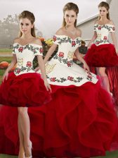 Fantastic White And Red Lace Up Off The Shoulder Embroidery and Ruffles 15 Quinceanera Dress Tulle Sleeveless