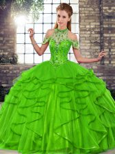 Hot Selling Halter Top Sleeveless 15 Quinceanera Dress Floor Length Beading and Ruffles Green Tulle