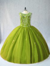 Floor Length Ball Gowns Sleeveless Olive Green Quinceanera Dresses Lace Up