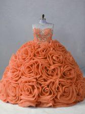 Custom Designed Orange Sweetheart Lace Up Beading Quinceanera Gown Brush Train Sleeveless