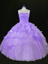 Floor Length Lavender Quinceanera Gowns Sleeveless
