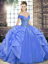 Charming Organza Sleeveless Floor Length Quinceanera Gown and Beading and Ruffles