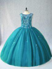 Scoop Sleeveless 15th Birthday Dress Floor Length Beading Teal Tulle