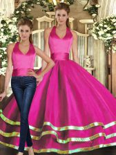 Elegant Sleeveless Lace Up Floor Length Ruffled Layers Quince Ball Gowns