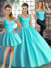 Perfect Floor Length Three Pieces Sleeveless Aqua Blue 15th Birthday Dress Lace Up