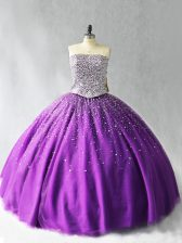 Dramatic Purple Strapless Lace Up Beading Quinceanera Dresses Sleeveless