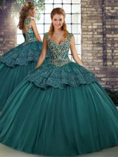 Green Ball Gowns Tulle Straps Sleeveless Beading and Appliques Floor Length Lace Up 15th Birthday Dress