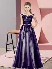 Custom Fit Floor Length Purple Dama Dress Tulle Sleeveless Beading and Lace