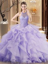 Halter Top Sleeveless Organza Quinceanera Dress Beading and Ruffles Sweep Train Lace Up