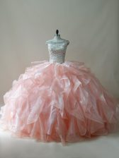 Superior Organza Off The Shoulder Sleeveless Zipper Beading and Ruffles 15 Quinceanera Dress in Peach