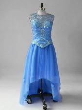 Blue Sleeveless High Low Beading Lace Up Prom Evening Gown