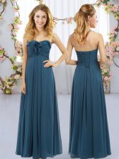 Navy Blue Sweetheart Lace Up Ruffles Quinceanera Court of Honor Dress Sleeveless