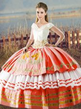 New Style Floor Length White And Red Vestidos de Quinceanera Satin Sleeveless Embroidery and Ruffled Layers