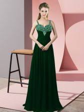 Discount Floor Length Empire Sleeveless Dark Green Prom Evening Gown Zipper