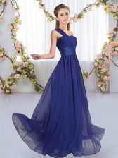 Dramatic Royal Blue Vestidos de Damas Wedding Party with Ruching One Shoulder Sleeveless Lace Up