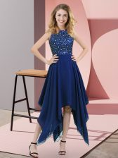 Royal Blue High-neck Neckline Beading and Sequins Evening Dress Sleeveless Zipper