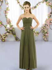 Olive Green Empire Ruching Quinceanera Court of Honor Dress Lace Up Chiffon Sleeveless Floor Length
