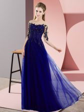 Sexy Blue Chiffon Lace Up Dama Dress Half Sleeves Floor Length Beading and Lace