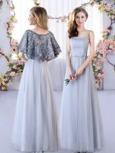 Glorious Grey Sleeveless Appliques Floor Length Damas Dress