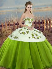 Shining Olive Green Lace Up Ball Gown Prom Dress Embroidery and Bowknot Sleeveless Floor Length