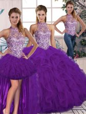 Halter Top Sleeveless Tulle 15 Quinceanera Dress Beading and Ruffles Lace Up