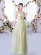 Classical V-neck Sleeveless Dama Dress for Quinceanera Floor Length Lace and Belt Yellow Green Tulle