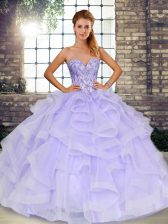 Romantic Sleeveless Lace Up Floor Length Beading and Ruffles Vestidos de Quinceanera