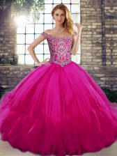 Modern Fuchsia 15 Quinceanera Dress Military Ball and Sweet 16 and Quinceanera with Beading and Ruffles Off The Shoulder Sleeveless Lace Up
